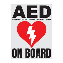 Load image into Gallery viewer, Automated External Defibrillator decal, AED On Board reflective vinyl decal, white color background with black text and AED Heart/Electricity logo