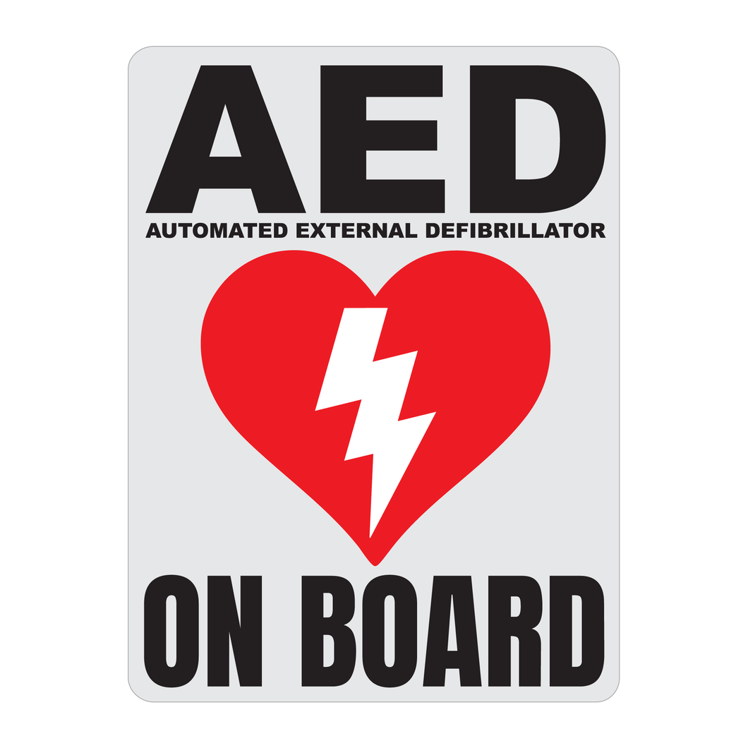 Automated External Defibrillator decal, AED On Board reflective vinyl decal, white color background with black text and AED Heart/Electricity logo