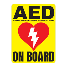 Load image into Gallery viewer, Automated External Defibrillator decal, AED On Board reflective vinyl decal, yellow color background with white text and AED Heart/Electricity logo