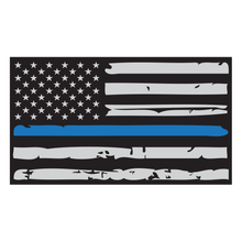 Load image into Gallery viewer, Thin Blue Line Distressed American Flag Reflective Vinyl Decal