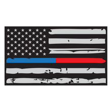 Load image into Gallery viewer, Thin Red + Blue Line Distressed American Flag Reflective Vinyl Decal