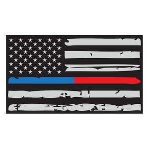 Thin Red + Blue Line Distressed American Flag Reflective Vinyl Decal