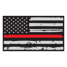Load image into Gallery viewer, Thin Red Line Distressed American Flag Reflective Vinyl Decal