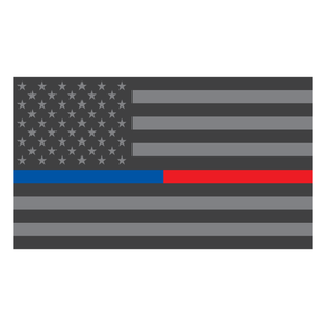 Thin Blue Red Line Subdued American Flag Reflective Vinyl Decals