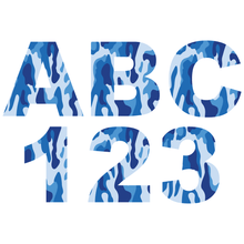 Load image into Gallery viewer, Blue Camouflage Reflective Letter and Number Decals