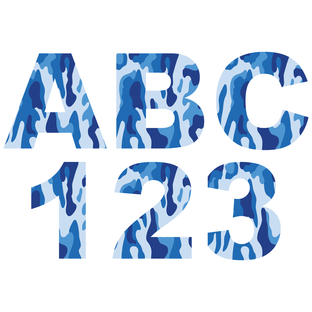 Blue Camouflage Reflective Letter and Number Decals
