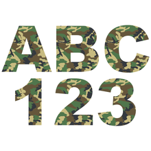 Load image into Gallery viewer, Green Camouflage Reflective Letter and Number Decals
