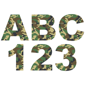 Green Camouflage Reflective Letter and Number Decals