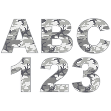 Load image into Gallery viewer, Grey Camouflage Reflective Letter and Number Decals