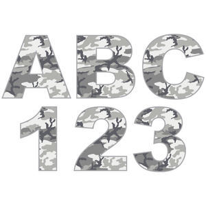 Grey Camouflage Reflective Letter and Number Decals