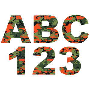 Orange Camouflage Reflective Letter and Number Decals
