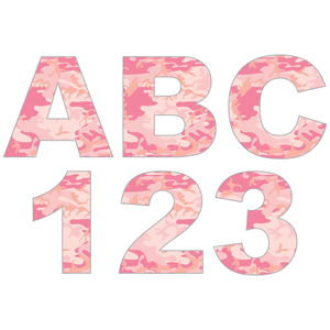 Pink Camouflage Reflective Letter and Number Decals