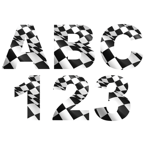 Checkered Flag Reflective Letter and Number Decals