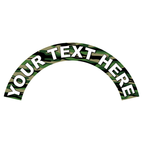 Reflective Vinyl Fire Helmet Crescent Decal, Customizable text, Reflective Helmet Rocker Decal, Woodland Green Camo Background