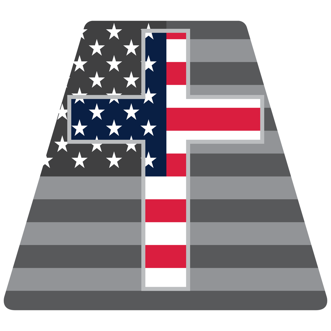 Chaplain Cross Standard and Subdued American Flag Helmet Tetrahedron Reflective Decals - Fire Safety Decals