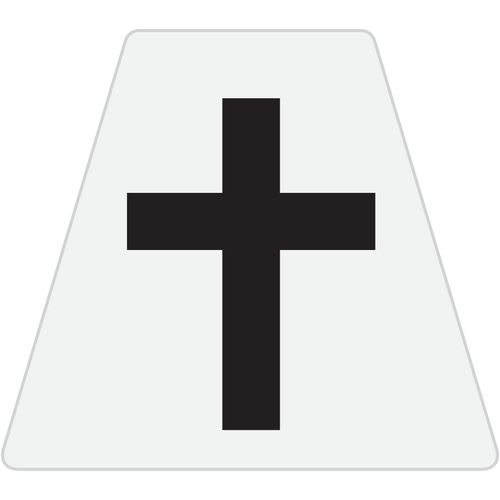 Chaplain Cross Reflective Tetrahedron Decal White with Black Cross