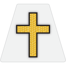Load image into Gallery viewer, Chaplain Cross Reflective Tetrahedron Decal White with Gold Leaf Cross
