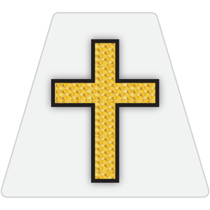 Chaplain Cross Reflective Tetrahedron Decal White with Gold Leaf Cross