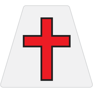 Chaplain Cross Reflective Tetrahedron Decal White with Red Cross