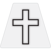 Load image into Gallery viewer, Chaplain Cross Reflective Tetrahedron Decal White with White Cross