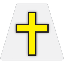 Load image into Gallery viewer, Chaplain Cross Reflective Tetrahedron Decal White with Yellow Cross