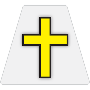 Chaplain Cross Reflective Tetrahedron Decal White with Yellow Cross