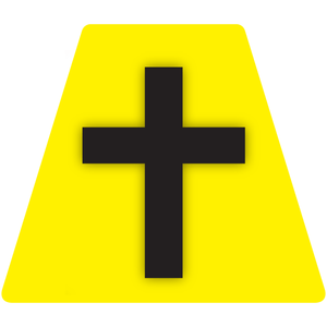 Chaplain Cross Reflective Tetrahedron Decal Yellow with Black Cross
