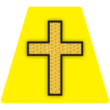 Load image into Gallery viewer, Chaplain Cross Reflective Tetrahedron Decal Yellow with Gold Leaf Cross