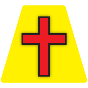 Chaplain Cross Reflective Tetrahedron Decal Yellow with Red Cross