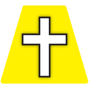 Chaplain Cross Reflective Tetrahedron Decal Yellow with White Cross