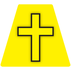 Chaplain Cross Reflective Tetrahedron Decal Yellow with Yellow Cross