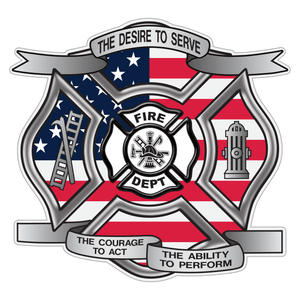 American Flag Desire To Serve Maltese Cross Reflective Decal