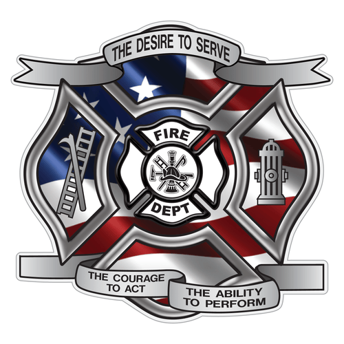 Wavy American Flag Desire To Serve Maltese Cross Reflective Decal