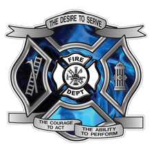 Load image into Gallery viewer, Blue Fire Desire To Serve Maltese Cross Reflective Decal