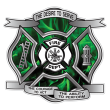 Load image into Gallery viewer, Green Fire Desire To Serve Maltese Cross Reflective Decal