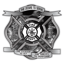 Load image into Gallery viewer, Grey Fire Desire To Serve Maltese Cross Reflective Decal