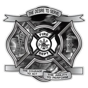 Grey Fire Desire To Serve Maltese Cross Reflective Decal