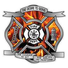 Load image into Gallery viewer, Orange Fire Desire To Serve Maltese Cross Reflective Decal