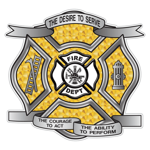 Gold Leaf Desire To Serve Maltese Cross Reflective Decal