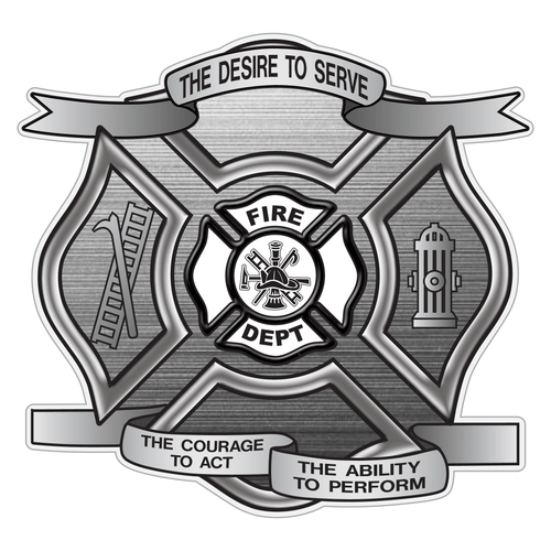 Brushed Metal Desire To Serve Maltese Cross Reflective Decal