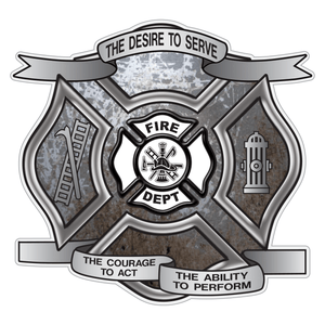 Distressed Metal Desire To Serve Maltese Cross Reflective Decal