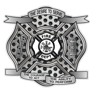 Perforated Metal Desire To Serve Maltese Cross Reflective Decal