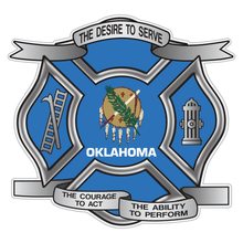 Load image into Gallery viewer, Oklahoma Desire To Serve Maltese Cross Reflective Decal