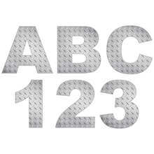 Load image into Gallery viewer, Silver Diamond Plate Reflective Letter and Number Decals