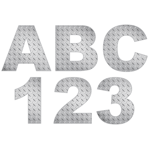Silver Diamond Plate Reflective Letter and Number Decals