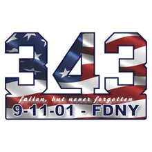 Load image into Gallery viewer, 9-11-01 FDNY 343 Wavy American Flag Commemorative Vinyl Decal
