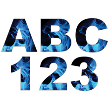 Load image into Gallery viewer, Blue Fire Flames Reflective Letter and Number Decals