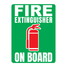 Load image into Gallery viewer, Fire Extinguisher On Board Solid Color Reflective Decal - Fire Safety Decals