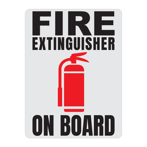 Fire Extinguisher On Board Solid Color Reflective Decal - Fire Safety Decals