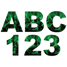 Load image into Gallery viewer, Green Fire Flames Reflective Letter and Number Decals